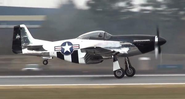 "Scott Yoak's  1944 N. A. P-51-D ""Quick Silver"" landing after the routine."