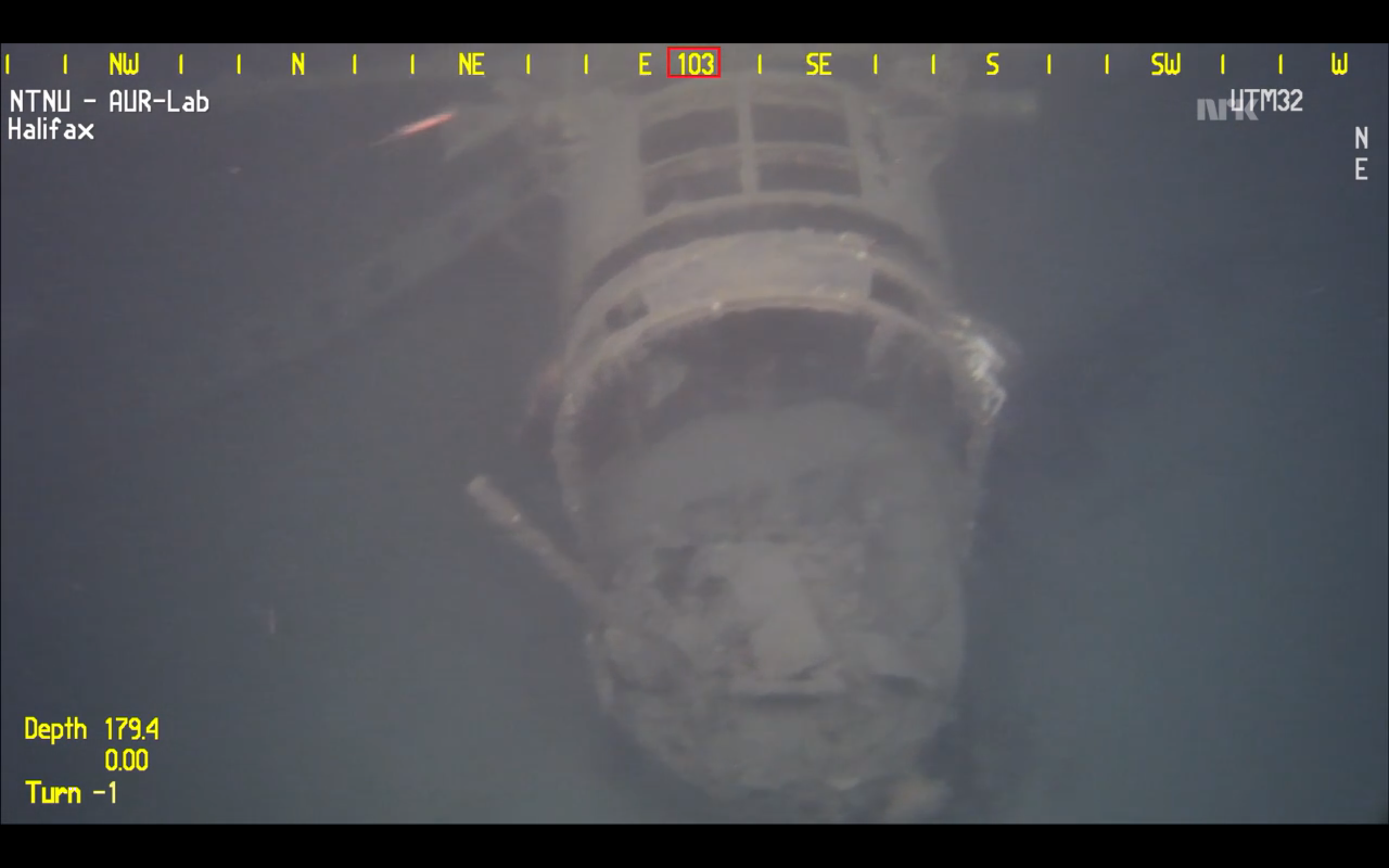 The Halifax's largely fragmented rear gun turret. (screen capture of video fromNTNU AUR-LAB)