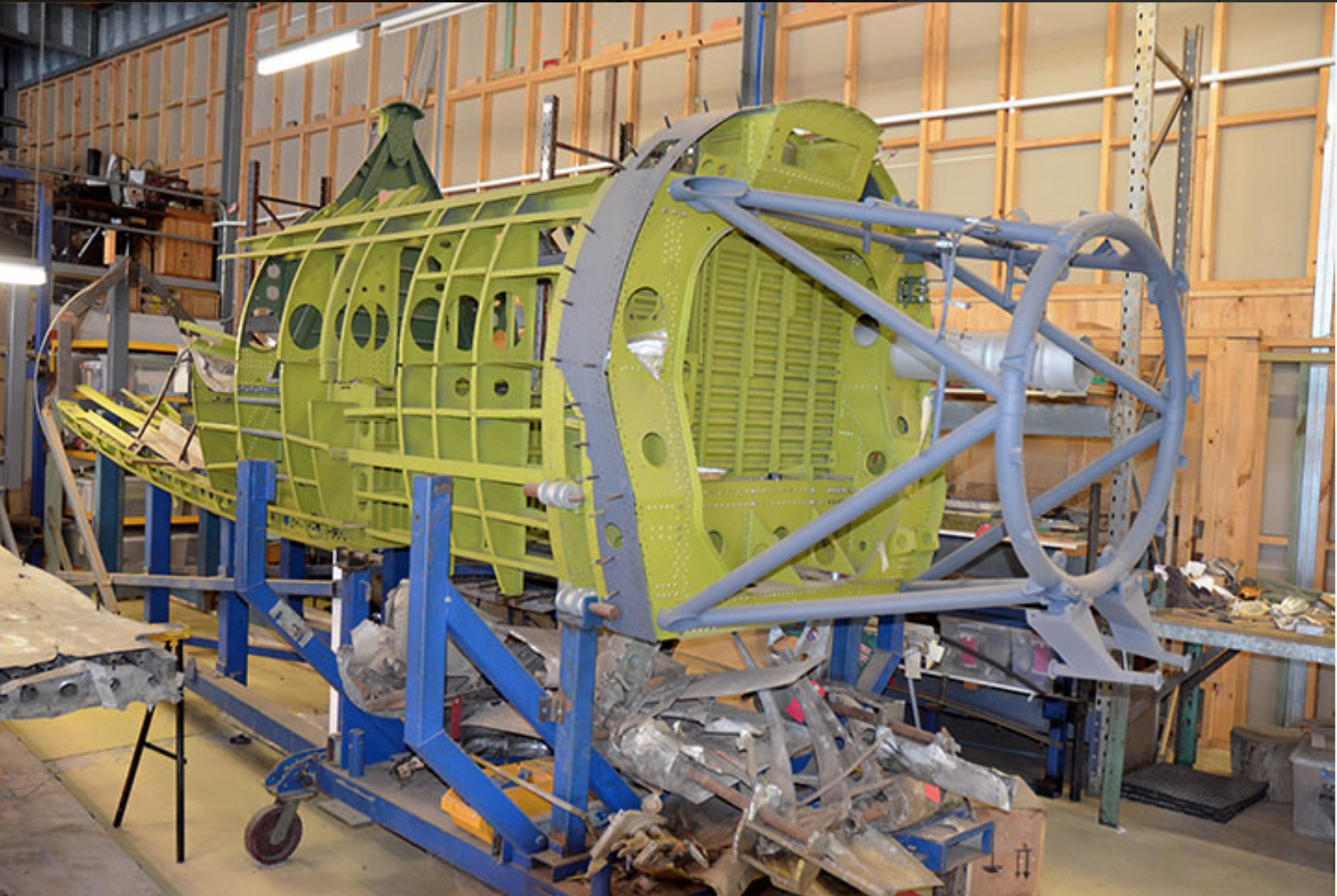 The fuselage of another P-47D in its jig. (photo via John Parker)
