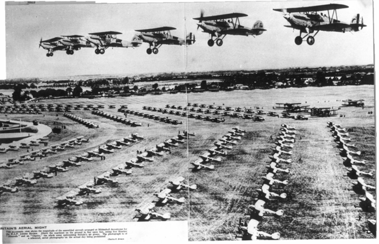 Over three hundred and fifty Royal Air Force aircraft lined up at RAF Mildenhall in 1935 for review by King George V during his Silver Jubilee year. (photo via RAF Mildenhall)