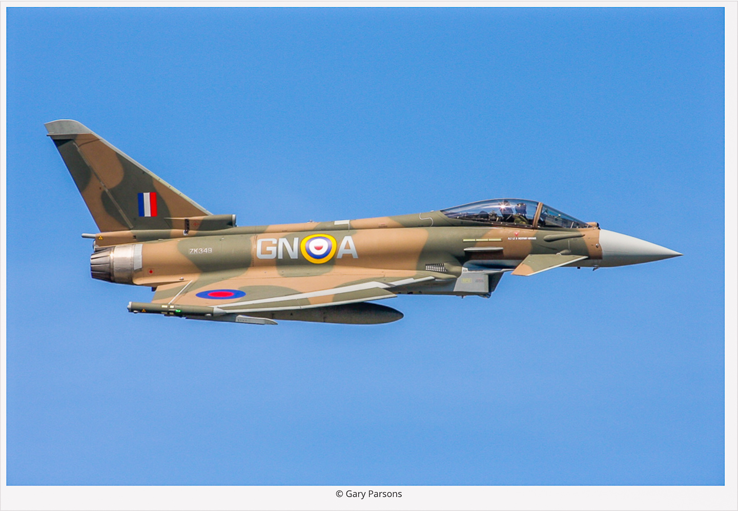 The 29(R) Squadron Typhoon II painted to represent James Nicholson's Hawker Hurricane from his Victoria Cross-winning combat during the Battle of Britain. (photo by Gary Parsons via Global Aviation Resource)