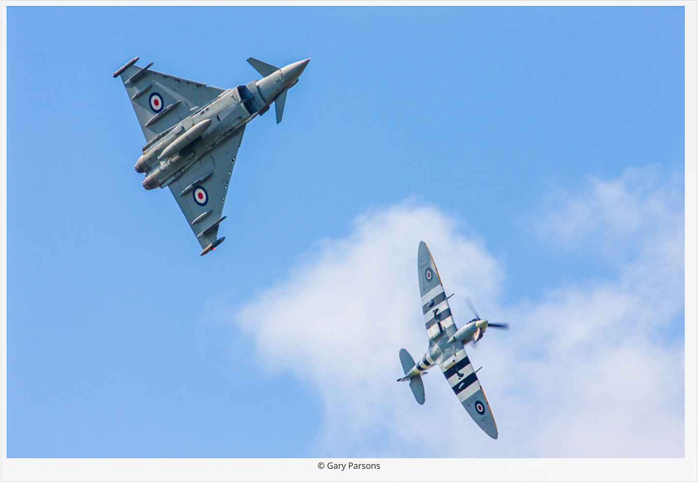 The commemorative Typhoon will fly as part of a synchro pair with a Battle of Britain Memorial Flight Supermarine Spitfire at select air shows across Britain this year. (photo by Gary Parsons via Global Aviation Resource)