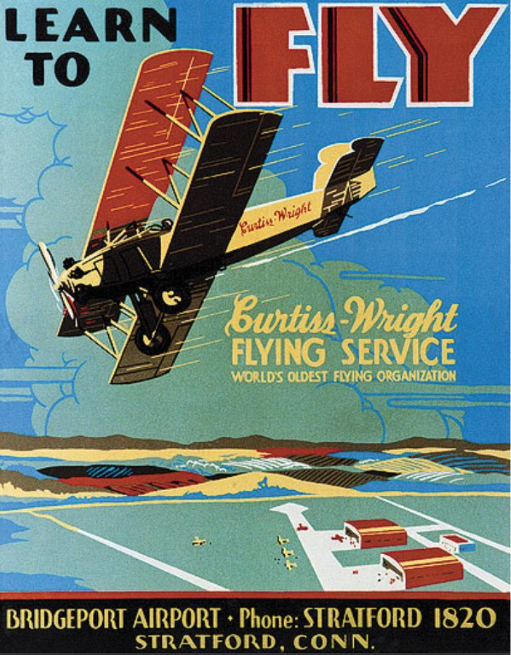 A reproduction poster of an original dating from the time the Curtiss Flying School opened its branch at the Bridgeport airfield in 1928. (via Richard Mallory Allnutt)