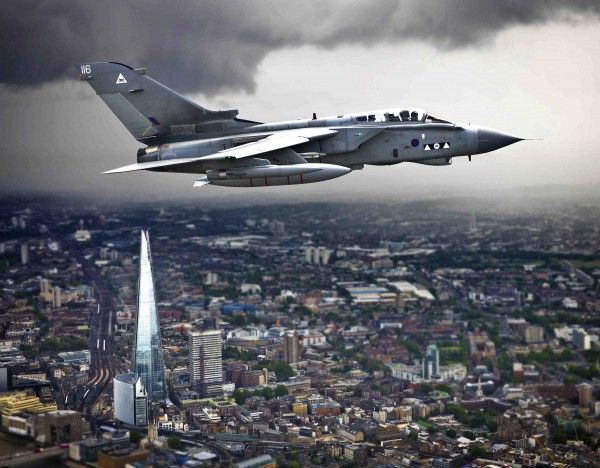 The winning photo called 'Shard', a Tornado GR4 from RAF Marham on patrol over London©UK MOD Crown Copyright 2013'