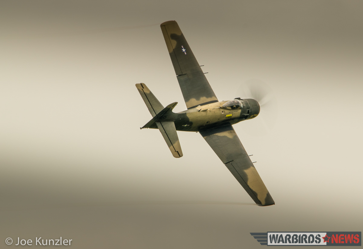 Pealing off after a low pass in the Skyraider. (photo by Joe Kunzler)