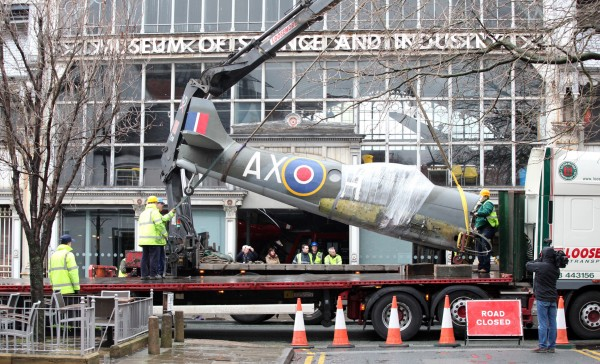 Technicians carefully load Spitfire FR.XIVe MT847 onto a flatbed lorry for shipment to the RAF Museum Hendon on February 9th (photo Chris Foster, via RAF Museum)
