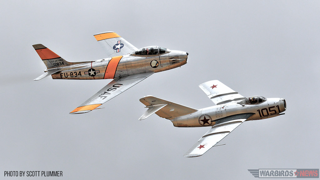 Steve Hinton in the F-86 and Chris Fahey in the Mig-15, Flying Saturday Afternoon Korean War Segment.