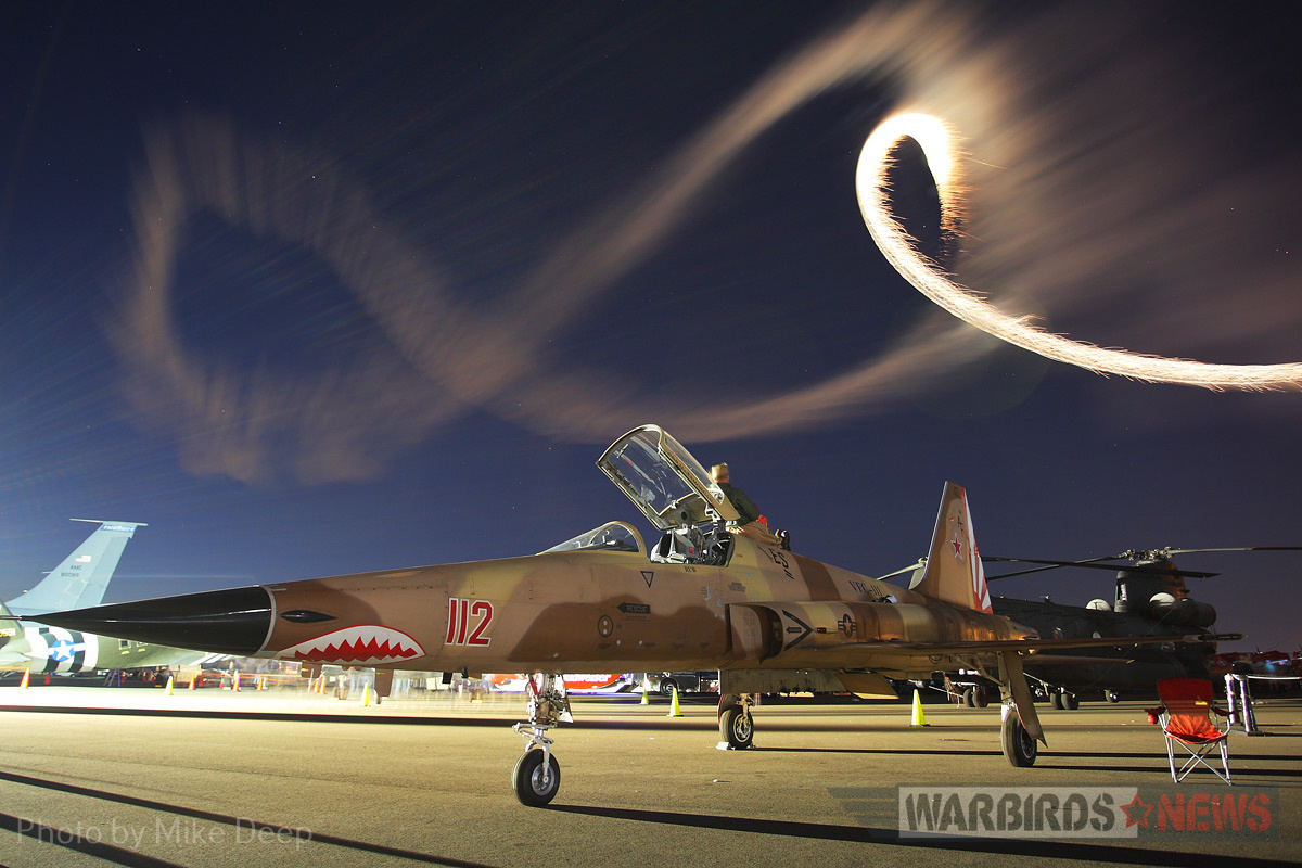 This pilot had a front seat to Saturday's night airshow atop a VFC-111 F-5 in aggressor colors.