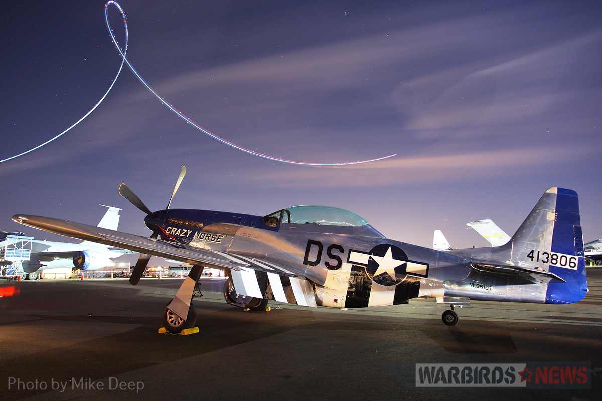 'Crazy Horse²' on the Warbird Ramp during the night airshow Saturday. In many ways, this TF-51 was the star of the show at this year's Sun 'n Fun