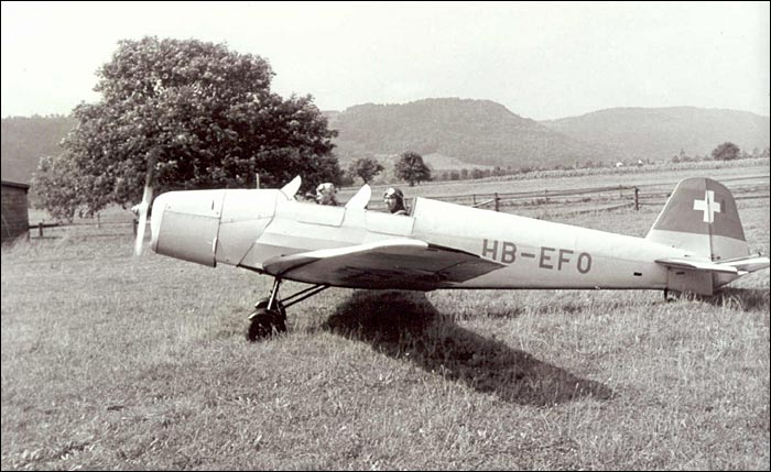 A Swiss-registered Bücker Bü 180 during the 1950s. (photo via Buecker Museum)
