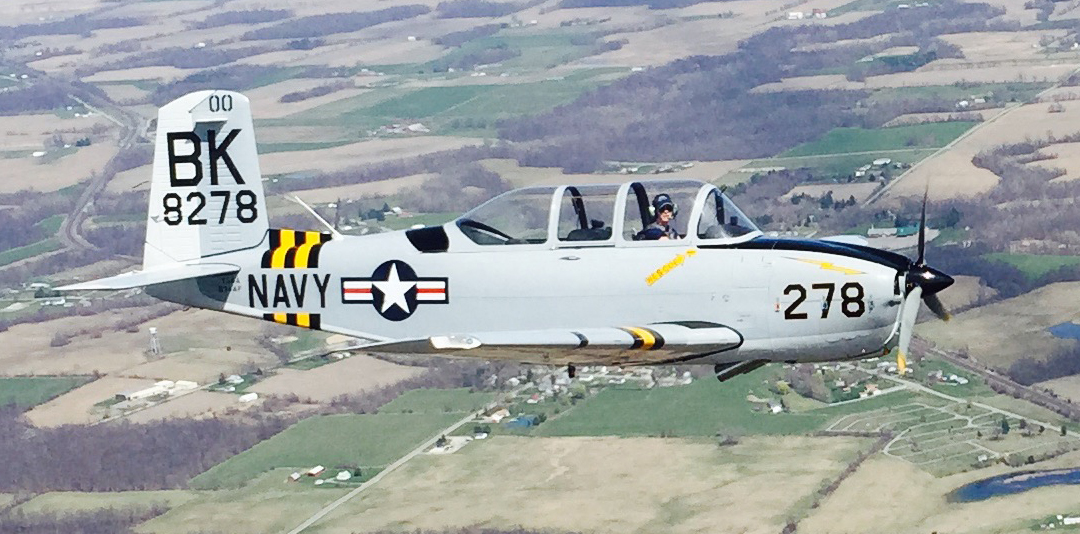 Melisa flying the T-34 over south Georgia countryside.