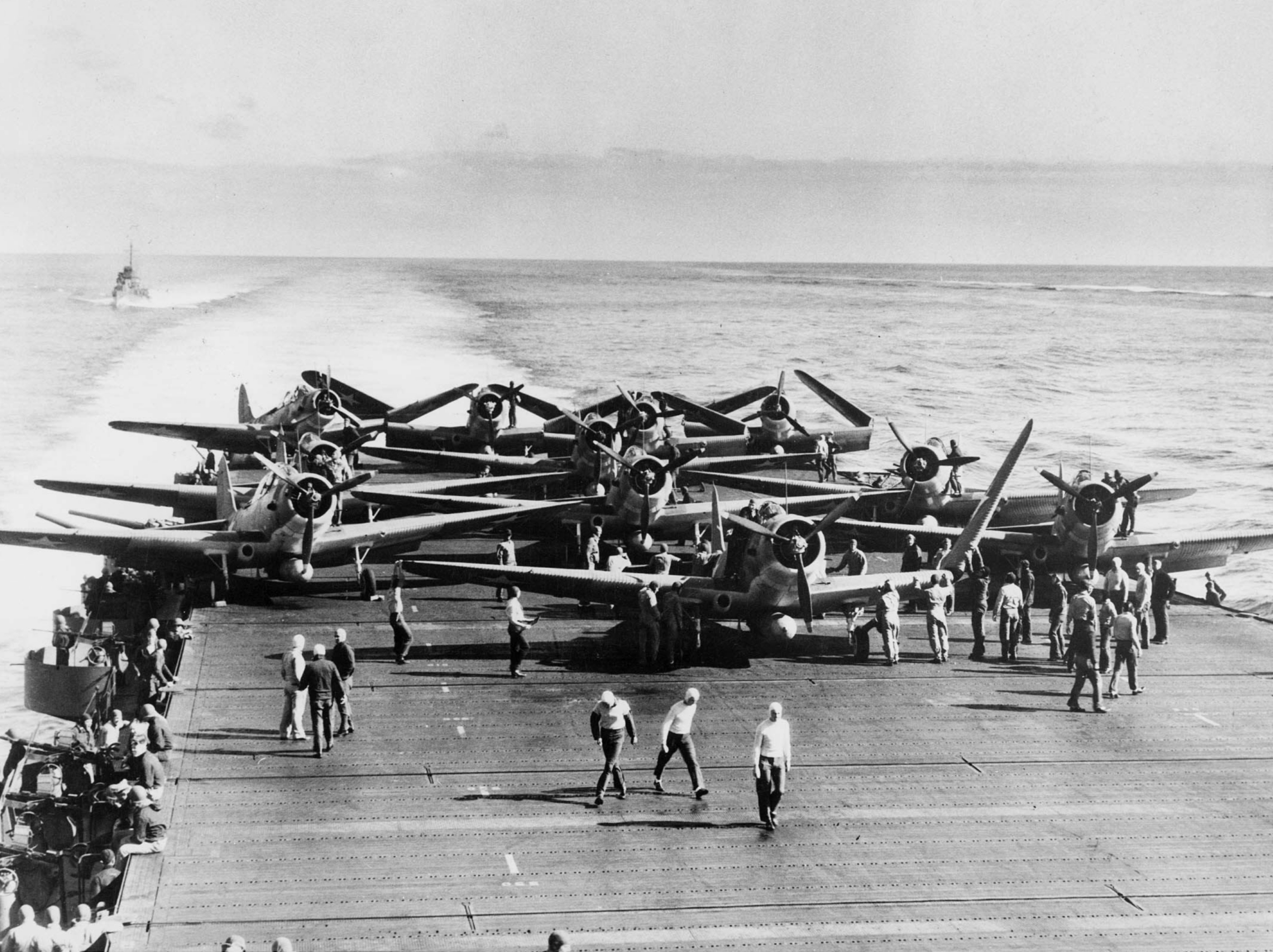 Devastators of VT-6 aboard USS Enterprise being prepared for take off during the battle. ( Photo U.S. Navy - U.S. Navy National Museum of Naval Aviation photo No. 1996.253.999)