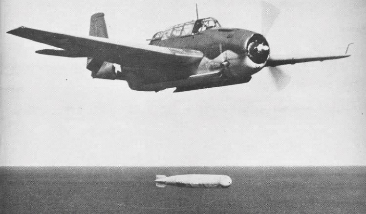 A U.S. Navy Grumman TBF-1 Avenger dropping a torpedo in late 1942 or early 1943.USN - U.S. Navy Naval Aviation News 15 February 1944 9 Source Wikipedia)