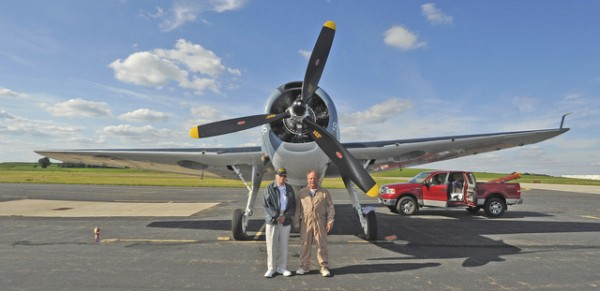 Robert McCarter (left), a Navy Silver Eagle who flew a TBM Avenger a few times during World War II with Charlie Cartledge. ( Image credit Dan Starcher)