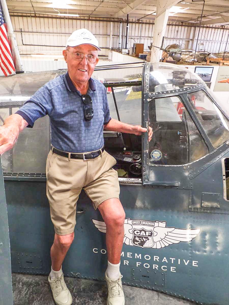 One of the big reasons for doing it all.... the veterans. Forrest A. Rodgers was stationed at Barbers Point, Hawaii during WWII. His job was to warm-up TBM's for the pilots. He will be 89 in April. (Photo by Jay Anderson)