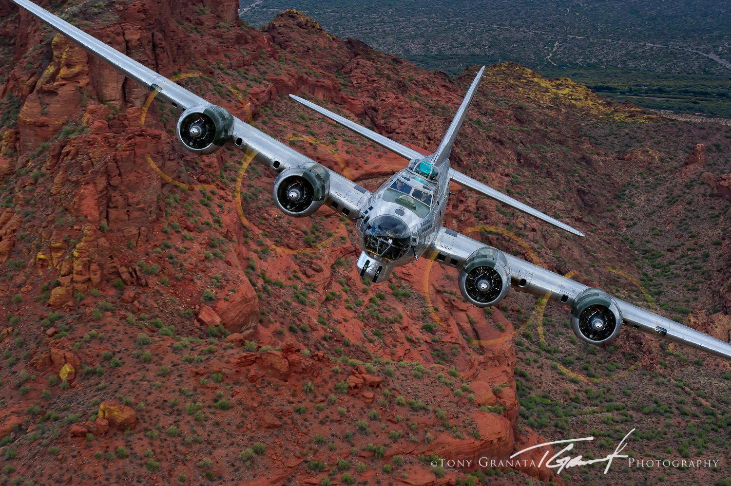 "CAF Arizona Airbase B-17G ""Sentimental Journey"" flying low over the Arizona desert. (Image by Tony Granata)."