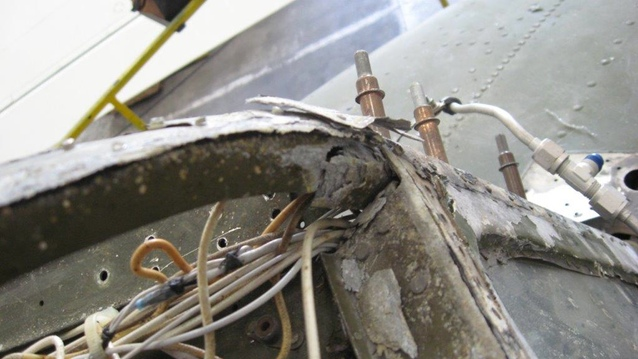 Some of the expected corrosion found in the aircraft. (photo by Ryne Treatch)