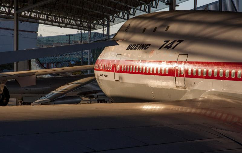 The 747 prototype shines at dawn in the Aviation Pavilion. Ted Huetter/The Museum of Flight, Seattle.