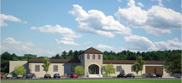 The architectural rendering of the Collings Foundation's proposed building for housing their newly acquired military vehicle collection. (image via Collings Foundation)