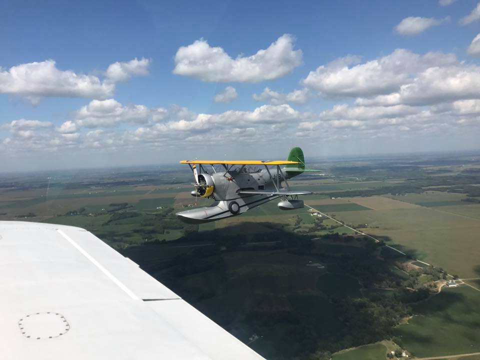 The Duck on its way to its new home. (photo by Matt Bongers in the support aircraft)