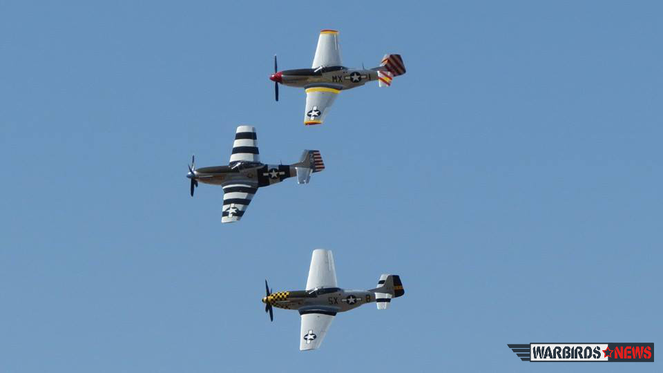 The Bremont Horsemen with Dan Friedkin, Ed Shipley and Steve Hinton flying in perfect formation in their P-51 Mustangs. (photo by Elena DePree)