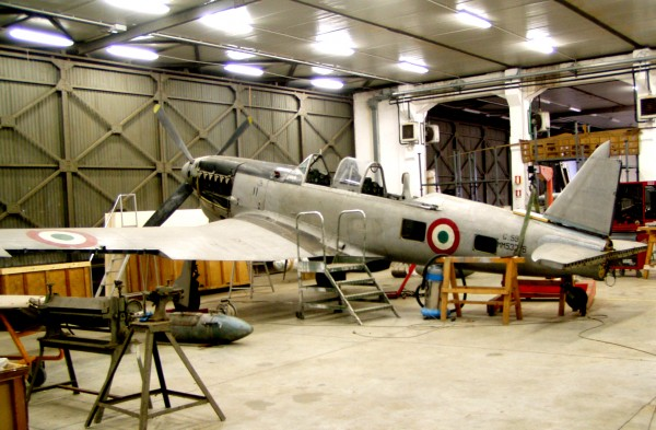 The Italian Air Force Museum's Fiat G.59 MM 53276 in their restoration hangar where it will undergo a complete refurbishment for display. (Italian Air Force Museum photo)
