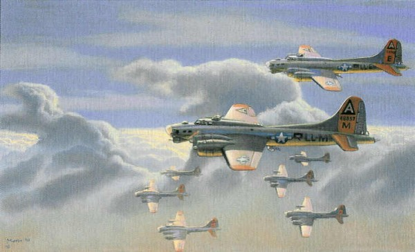 "The Last Mission by aviation artist, Bryan Moon, Commissioned by Michael Duncan honors the bravery and sacrifices of ""The Greatest Generation"""