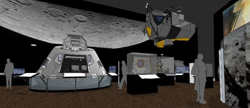 Rendering of a section of The Museum of Flight's new Apollo exhibit.