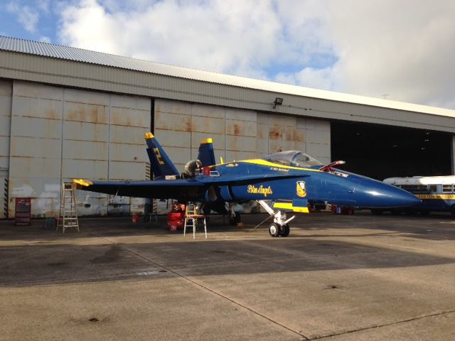 Technicians begin preparing the Museum's Blue Angel for the road trip from Florida.