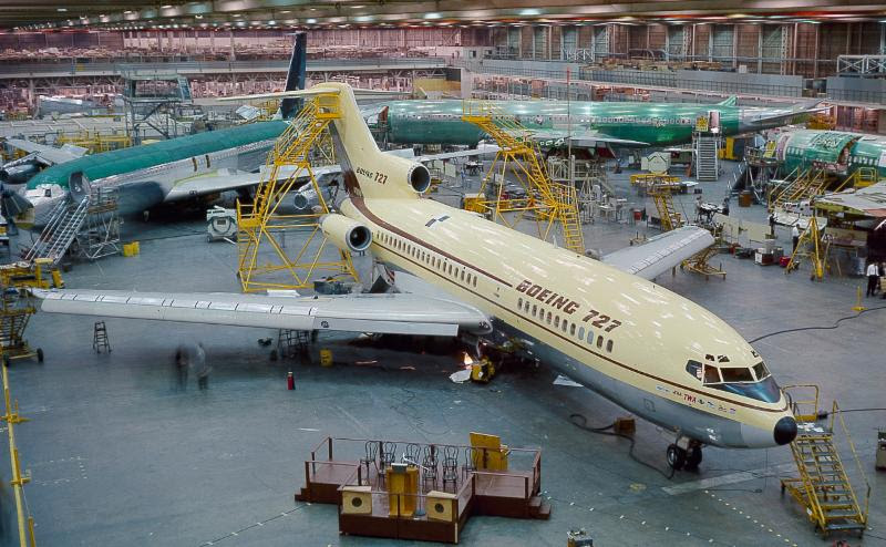 The Museum's Boeing 727 prototype at the 727 Rollout ceremony on November 27, 1962.