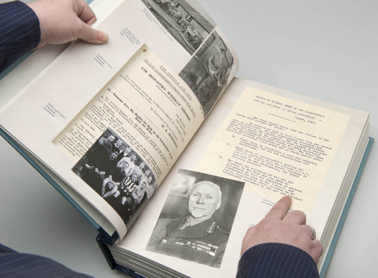 The RAF Centenary Anthology_An example double-page spread showing General Smuts' memorandum