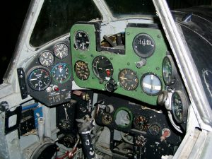 The unrestored cockpit of the Italian Air Force Museum's Fiat G.59 MM 53276. (Italian Air Force Museum photo)