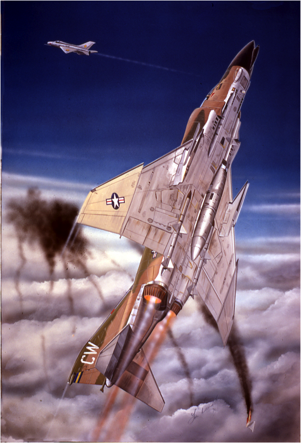 An artists impression of one of General Titus's three MiG-21 kills over Viet Nam.