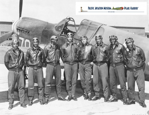 Tuskegee Airmen - Circa May 1942 to Aug 1943 Location unknown, likely Southern Italy or North Africa. Class 42-I graduated from flight training on October 9, 1942 at Tuskegee Army Air Field in Alabama Left to right: Nathaniel M. Hill, Marshall S. Cabiness, Herman A. Lawson, William T. Mattison, John A. Gibson, Elwood T Driver, Price D. Rice, Andrew D. Turner Album IDD: 833684 Photo ID: 25502027 .Source Wikipedia