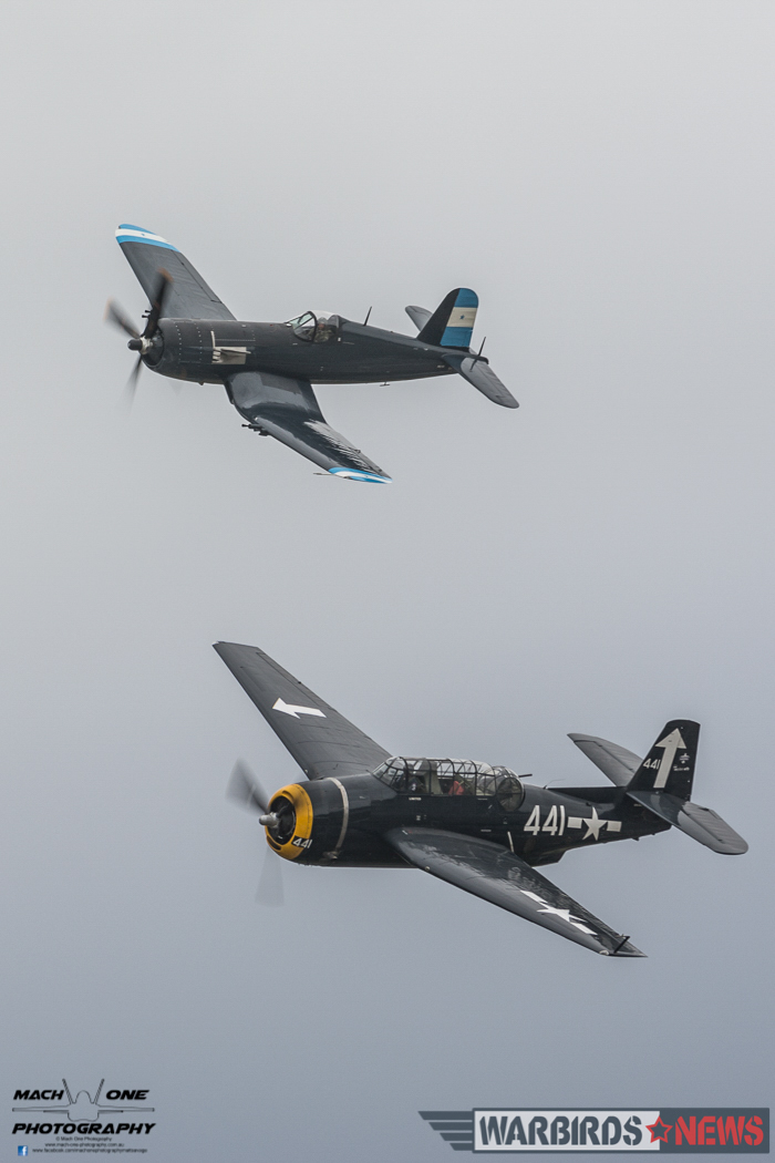 Paul Bennet in his TBM Avenger with Peter Clements flying Graham Hosking's F4U-5N Corsair. (photo by Matt Savage)