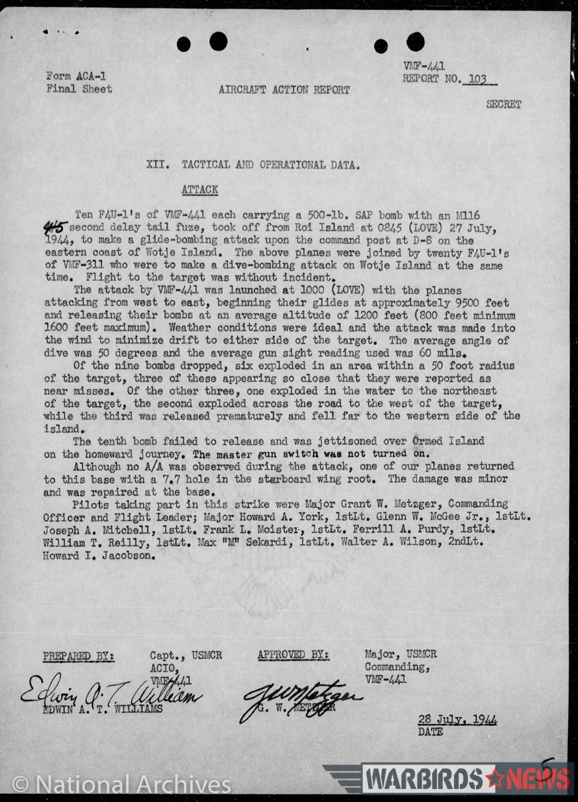 VMF-441 Operational Log for July 28th, 1944 detailing an attack by the squadron's Corsairs upon an enemy installation on Wotje Island. (image via Chris Fahey)