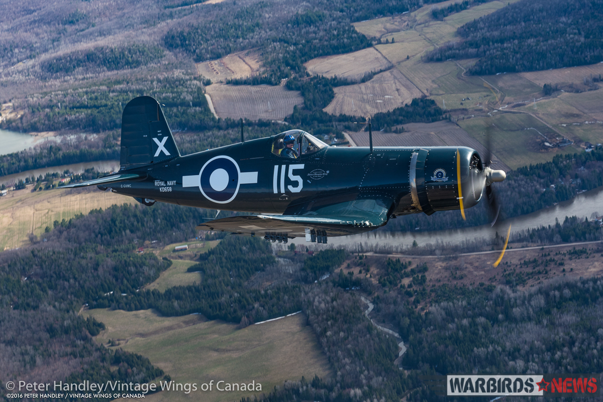 Another gorgeous shot of the Corsair over the local farmland. (photo by Peter Handley)