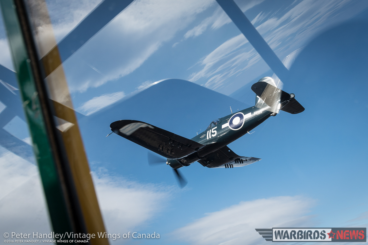 A view from inside the  Harvard as John Aitken pulls her in beside  the Corsair. (photo by Peter Handley)