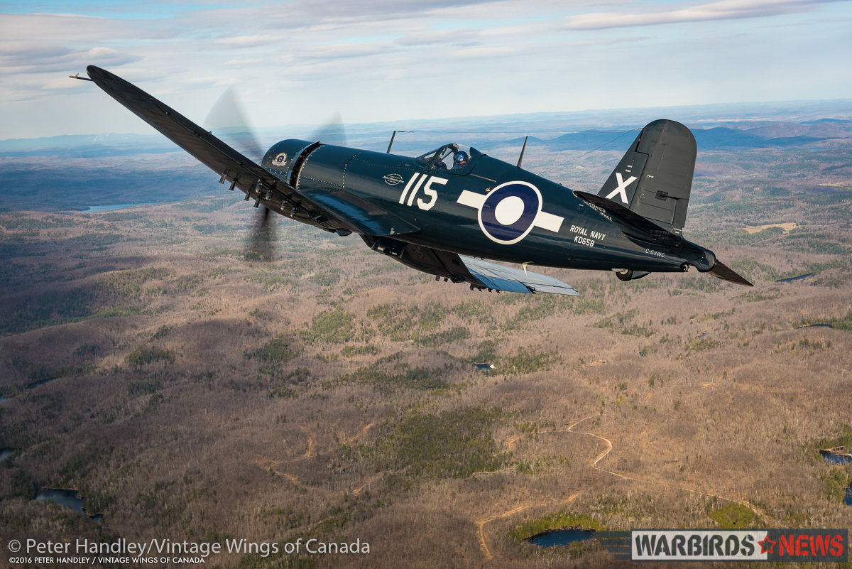 Paul Kissman aloft in Vintage Wings of Canada's FG-1D Corsair over the Gatineau Hills during the fighter's first flight in three years. (photo by Peter Handley)