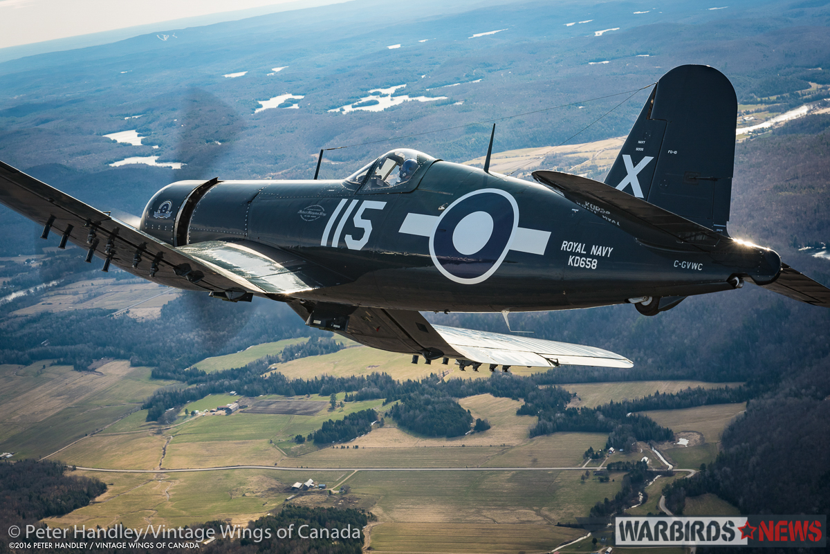 Banking the Corsair over nearby farmland. (photo by Peter Handley)