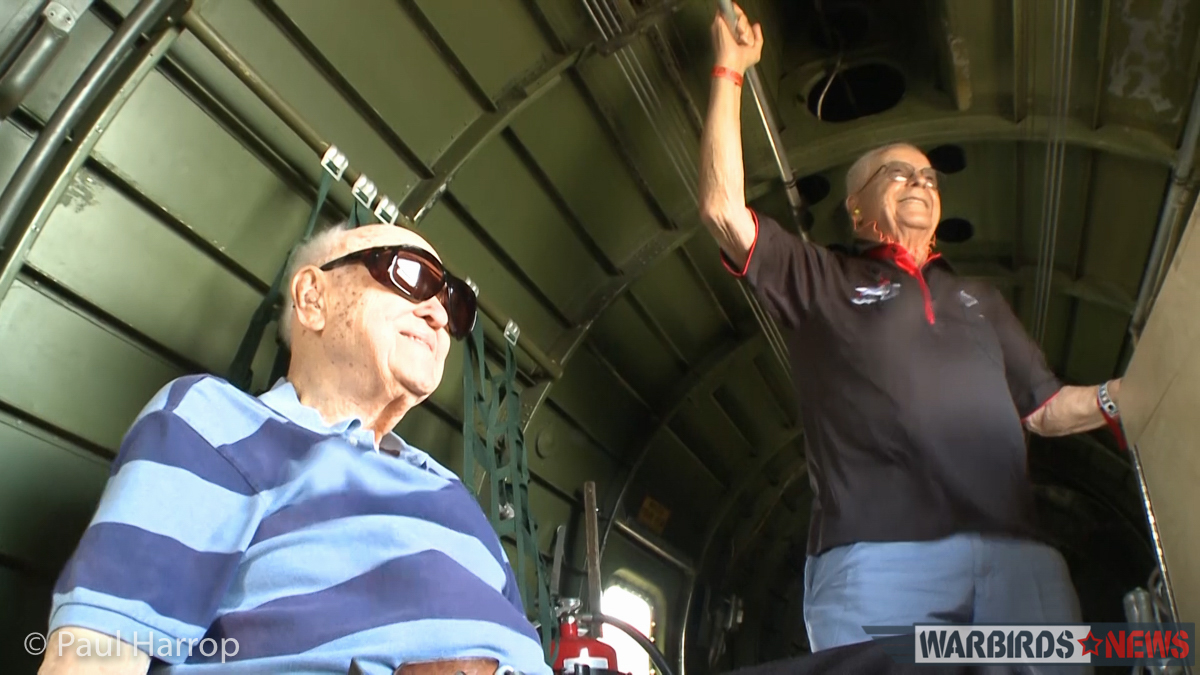 Tuskegee airman Col. George Hardy (r) and B-17 veteran, Col. Bill Brake (l), inside the CAF's B-17G 'Texas Raiders' for a special flight at Sun 'n Fun 2016. (photo by Paul Harrop)