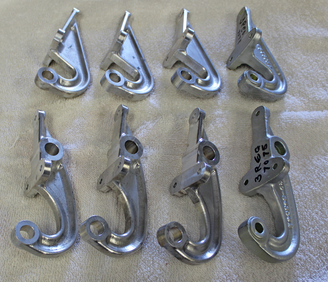 Newly machined tail wheel gear door hinges. (photo via Tom Reilly)