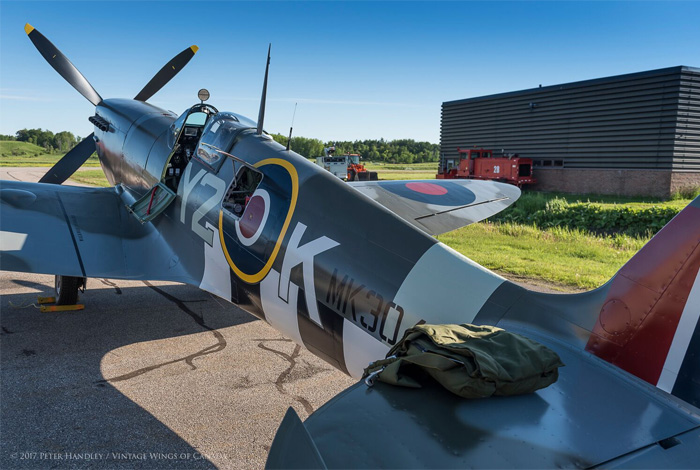 After many years, Spitfire Mk IX TE294, wearing the markings and serial number of Y2-K, a 442 Squadron Spitfire, sits in the morning sun on the ramp at Vintage Wings of Canada, ready to go flying for the first time in many decades. The build is finished, the engine tested, taxi tests complete and the weather is gorgeous. Nothing left to do now except go flying. Photo: Peter Handley, Vintage Wings of Canada