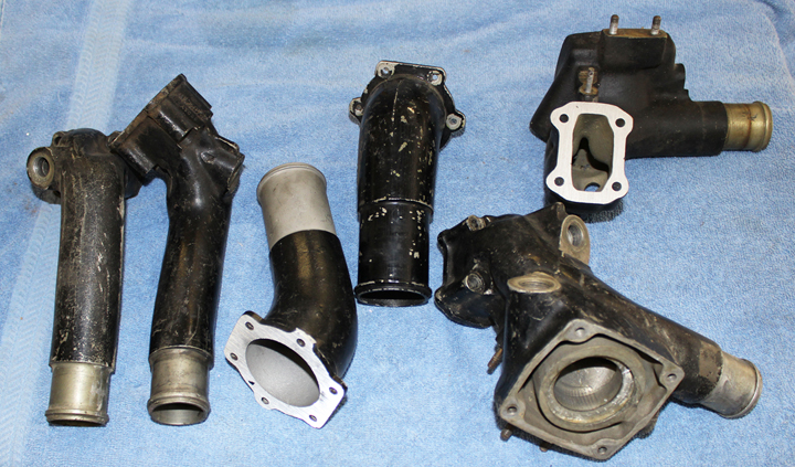 The components for the coolant water necks supplied by Vintage V-12s. (photo via Tom Reilly)
