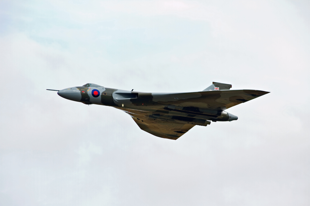 The Vulcan performing a flypast at RAF Waddington on 11th July 2014.