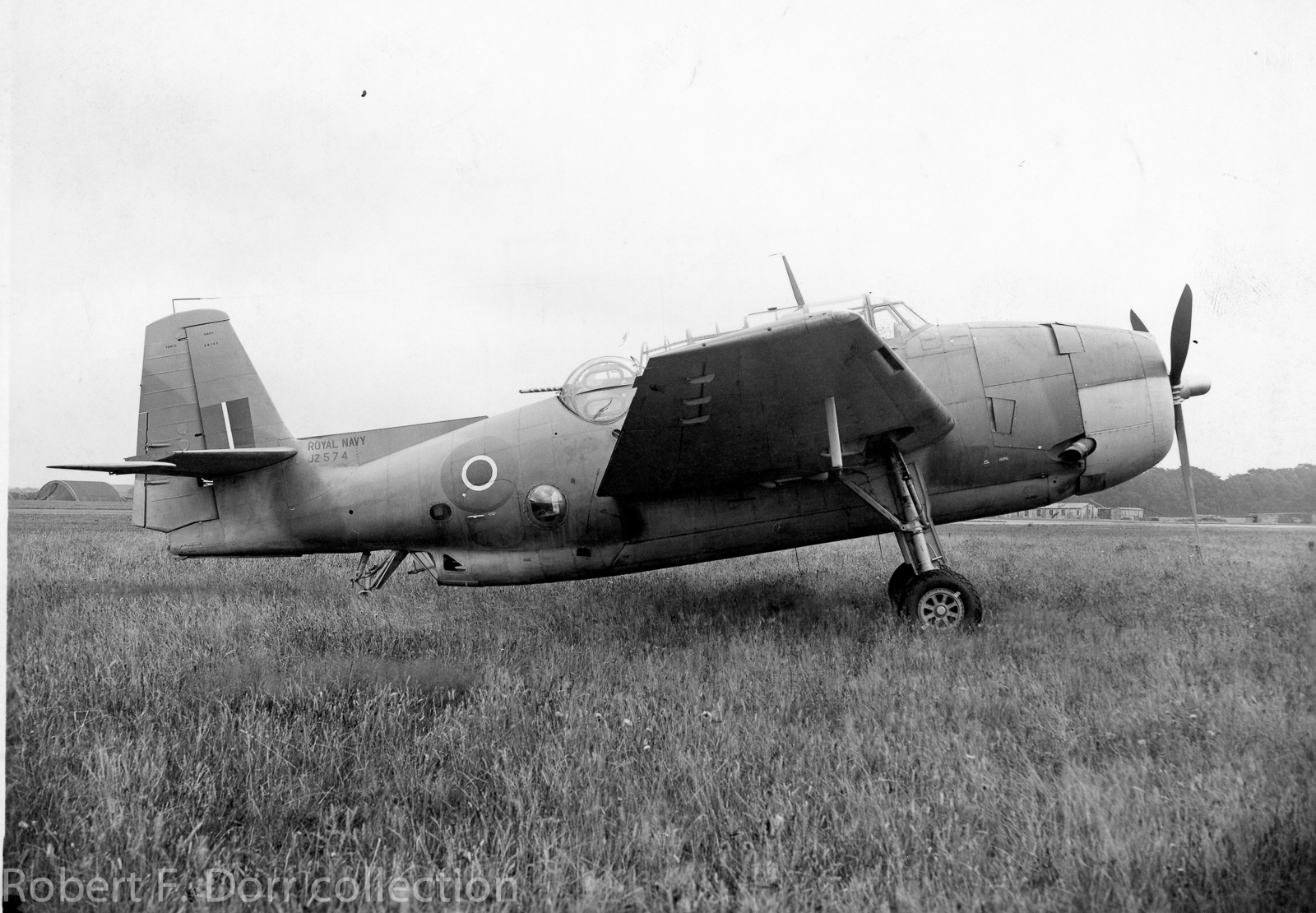 JZ574, an Avenger Mk.II of the Royal Navy's Fleet Air Arm at Boscombe Down, a test establishment in Wiltshire, England. JZ574 served in the Pacific Theatre with 820 Squadron aboard HMS Indefatigable between December 1944 and April, 1945. (photo via Robert F. Dorr collection)
