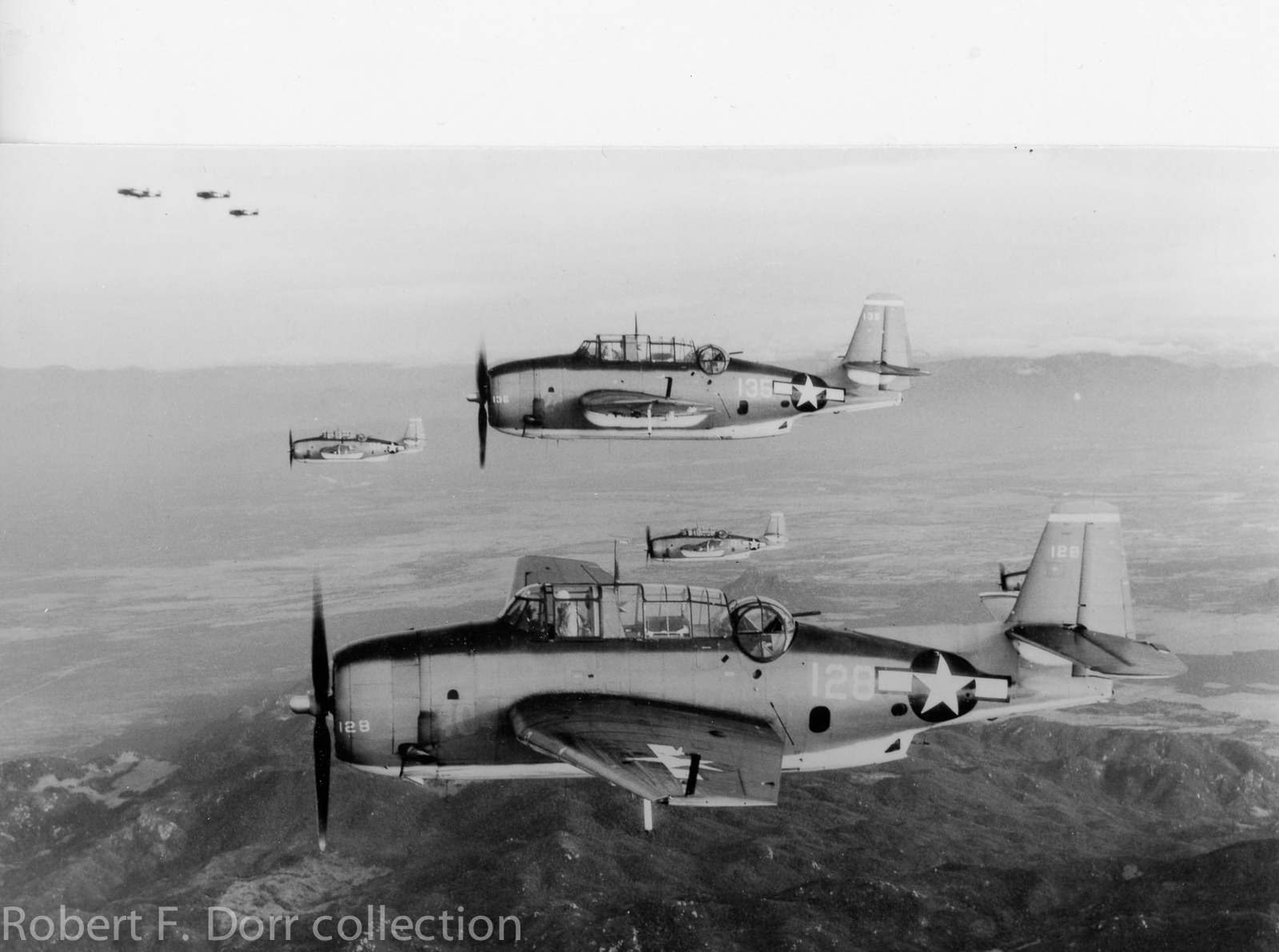 These are TBM-3 Avengers of squadron VT-4 from USS Essex (CV 9) on a combat mission in the Philippines on January 12, 1945. (U.S. Navy photo via Robert F. Dorr collection)