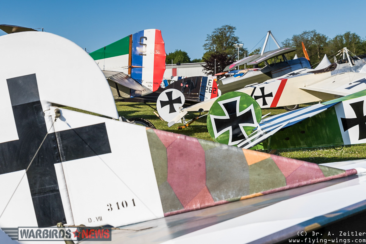 Tails from some of the WWI-era aircraft at the show. (photo by Andreas Zeitler)