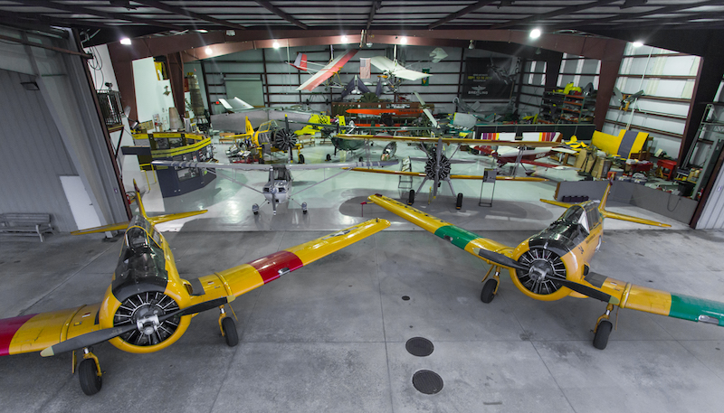 The Warbird Adventures Hangar and its two T-6 Texans (Photo Mike Killian)
