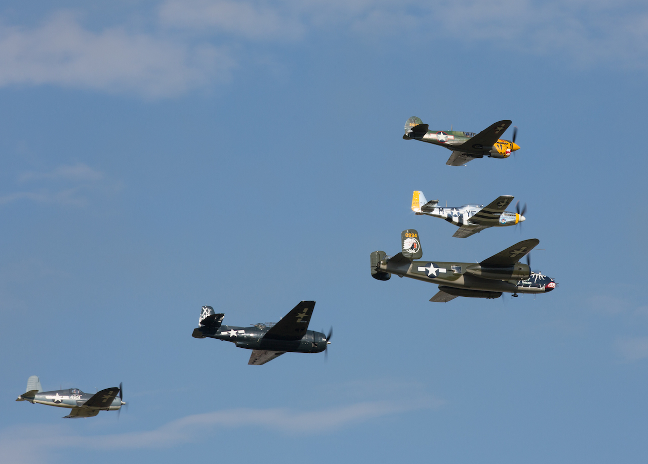 EAA AirVenture's warbird shows feature formations of vintage military aircraft that are rarely seen together anywhere in the world. (EAA photo/Chris Miller)
